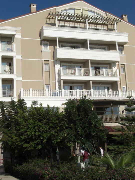 Blick auf Block 6 vom Garten aus Trendy Aspendos Beach Hotel