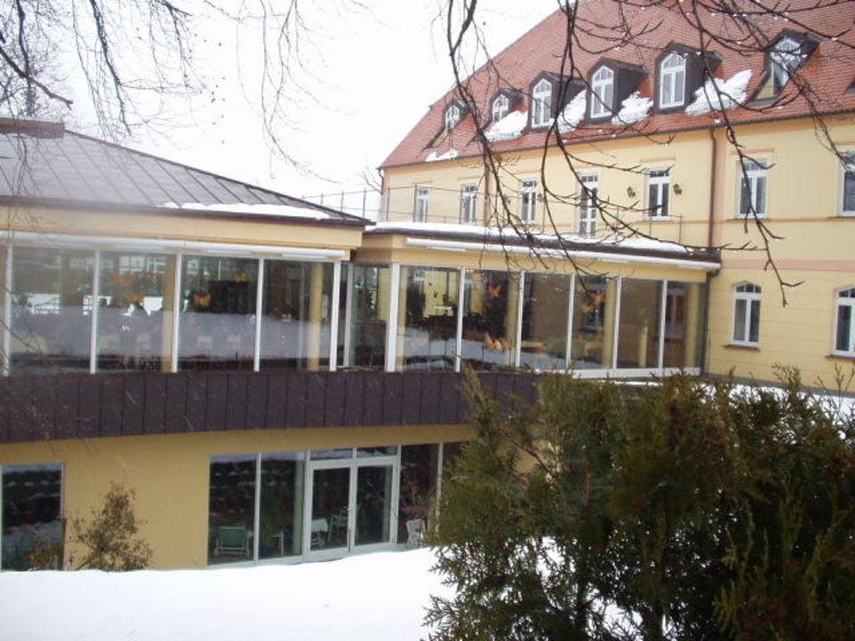 Blick aufs Restaurant und Wellnessbereich Resort Gutshof Sparow