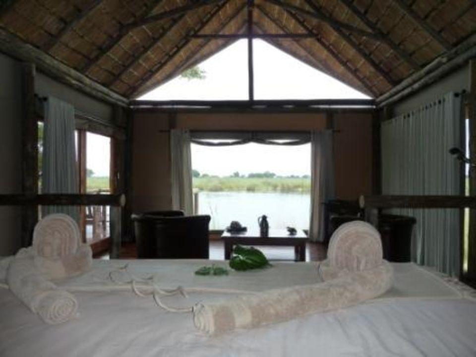 Ausblick vom Bett Zelt Nr. 5 Hotel Kwando Lagoon Camp