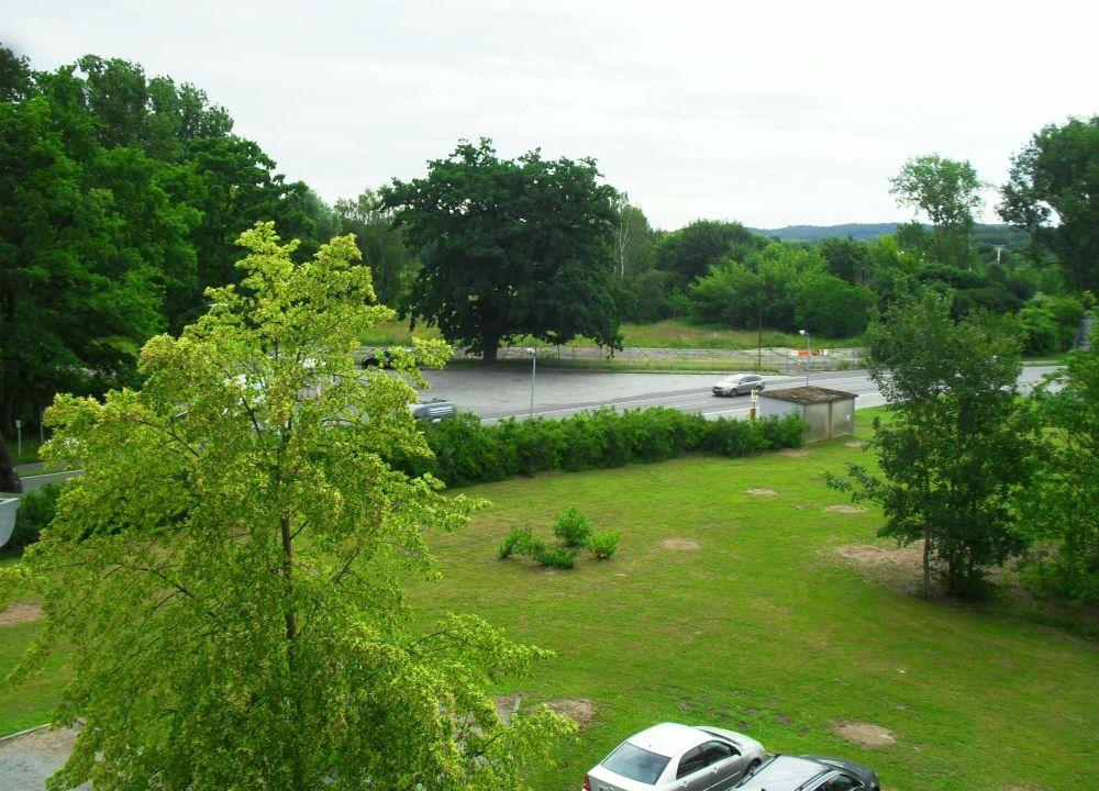 Blick vom Fenster zur Straße und Parkplatz Hotel am Tierpark