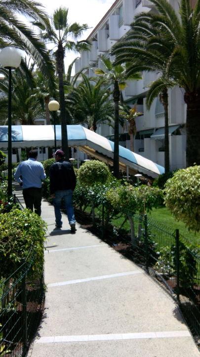Entrada bajo el toldo azulblanco Hotel Surycan