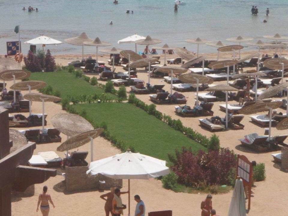 Blick vom Café Makadi aus an den Strand Prima Life Makadi Bay