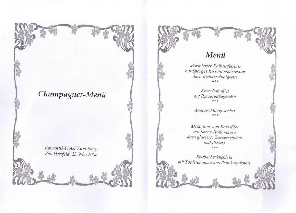 Das Champagner-Menü Romantik Hotel Zum Stern