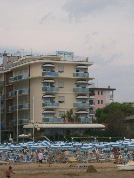 Strand vom Steg aus gesehen Hotel Canarie