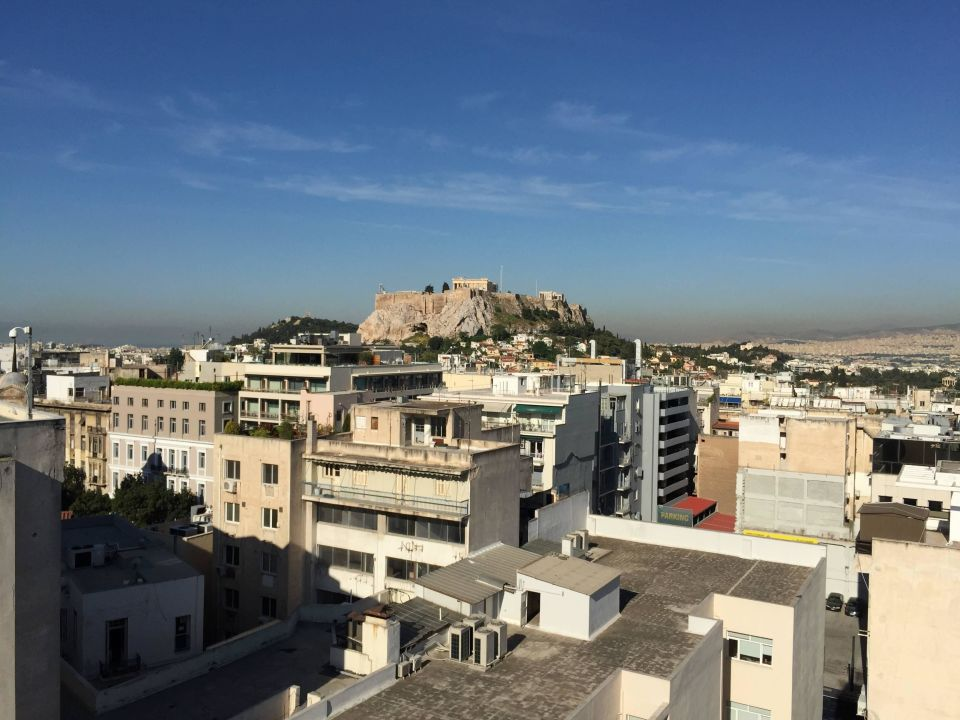Acropolis from rooftop terrace Hotel Amalia Athens