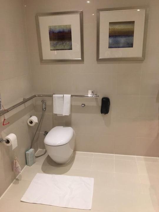 Rollstuhlbad mit Toilette und Haltegriffe. Hotel Crowne Plaza Dubai Festival City