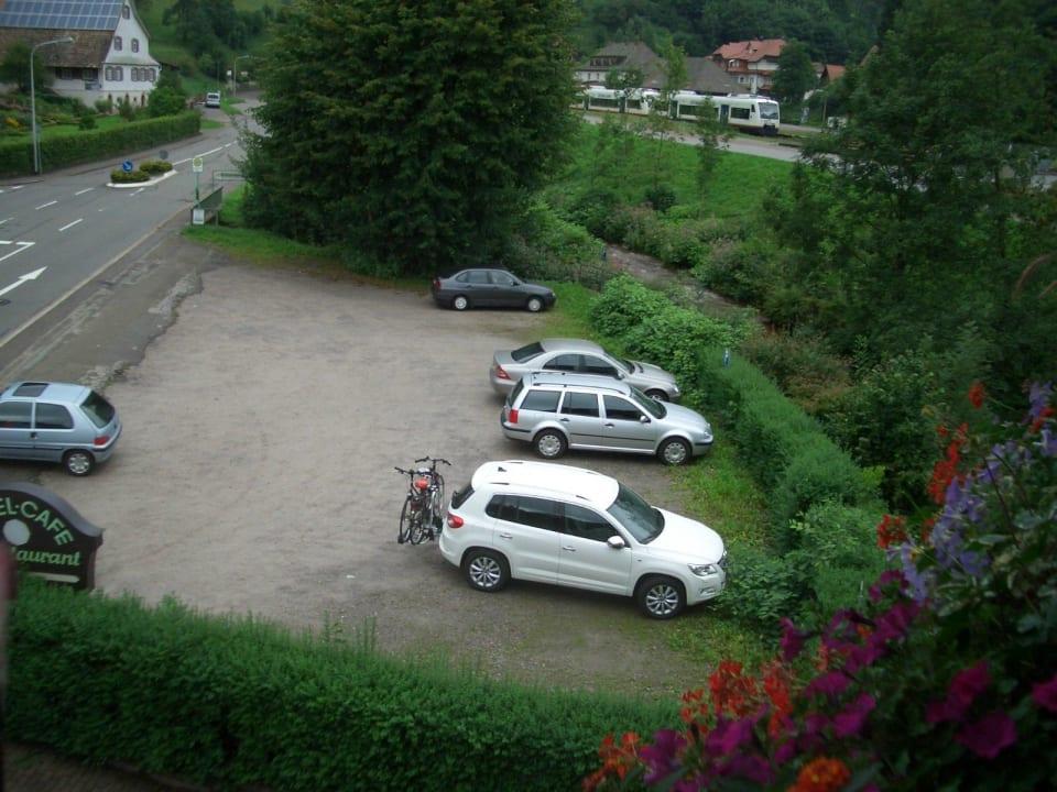 Blick zum Parkplatz Hotel Döttelbacher Mühle