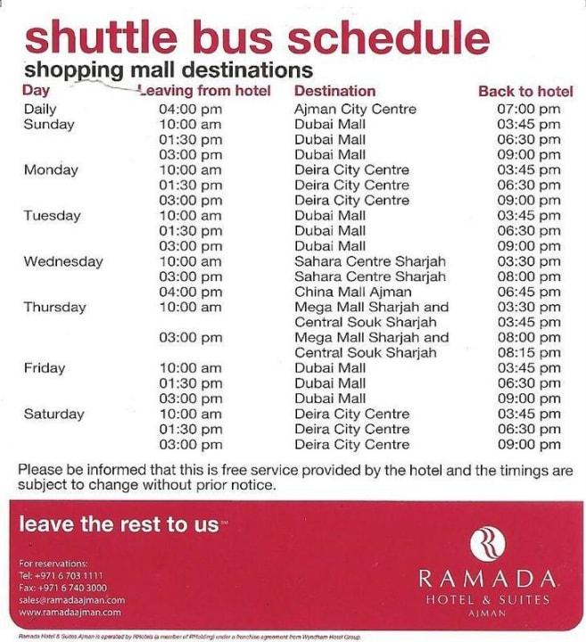 Fahrplan kostenloser Shuttle Ramada Hotel & Suites by Wyndham Ajman