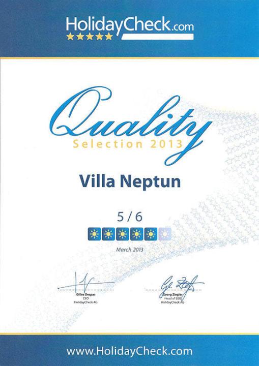 HolidayCheck Quality Selection 2013  Villa Neptun