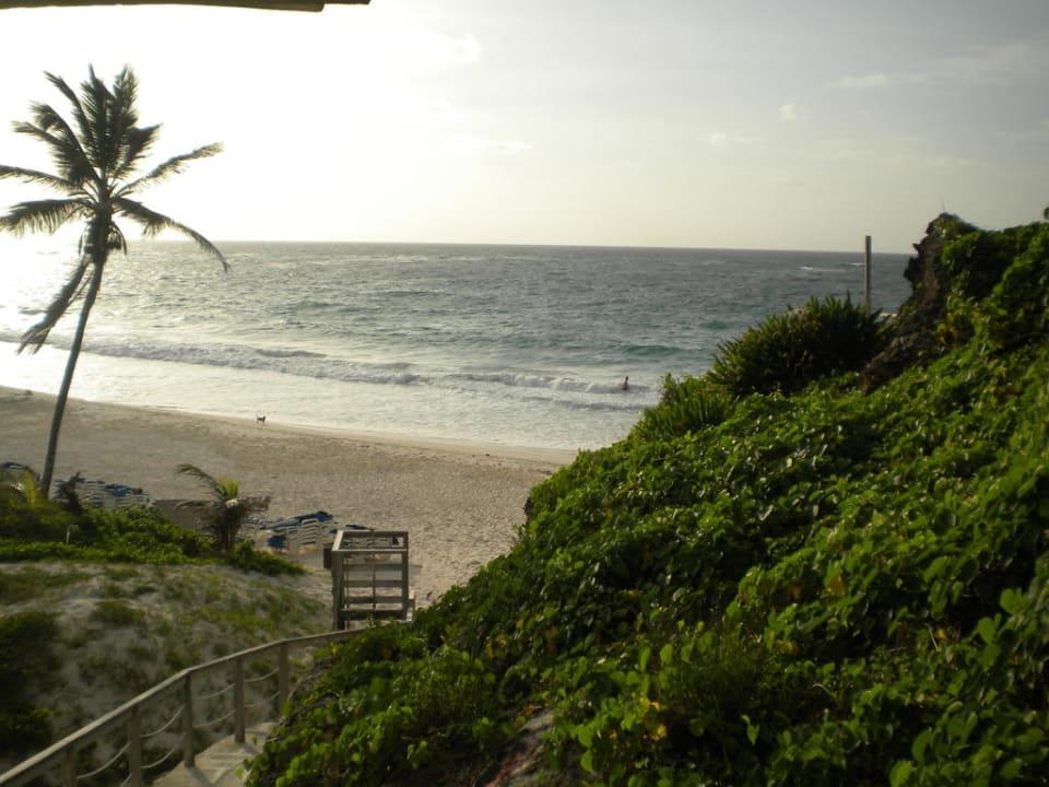 Blick zum Strand von der Treppe aus Hotel The Crane Resort & Residences