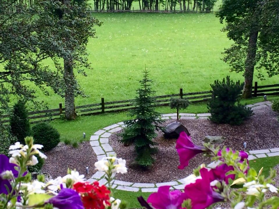 Blick vom Zimmer in der Villa Hotel Ramsauhof