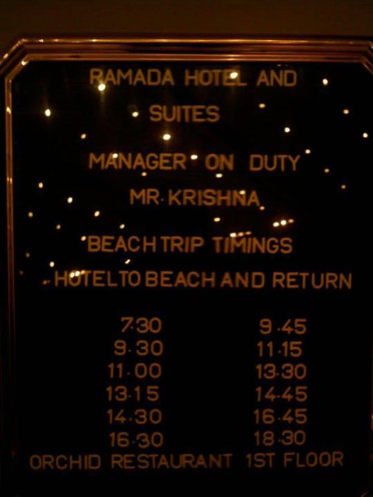Fahrplan zum hoteleigenen Strand Ramada Hotel & Suites by Wyndham Ajman
