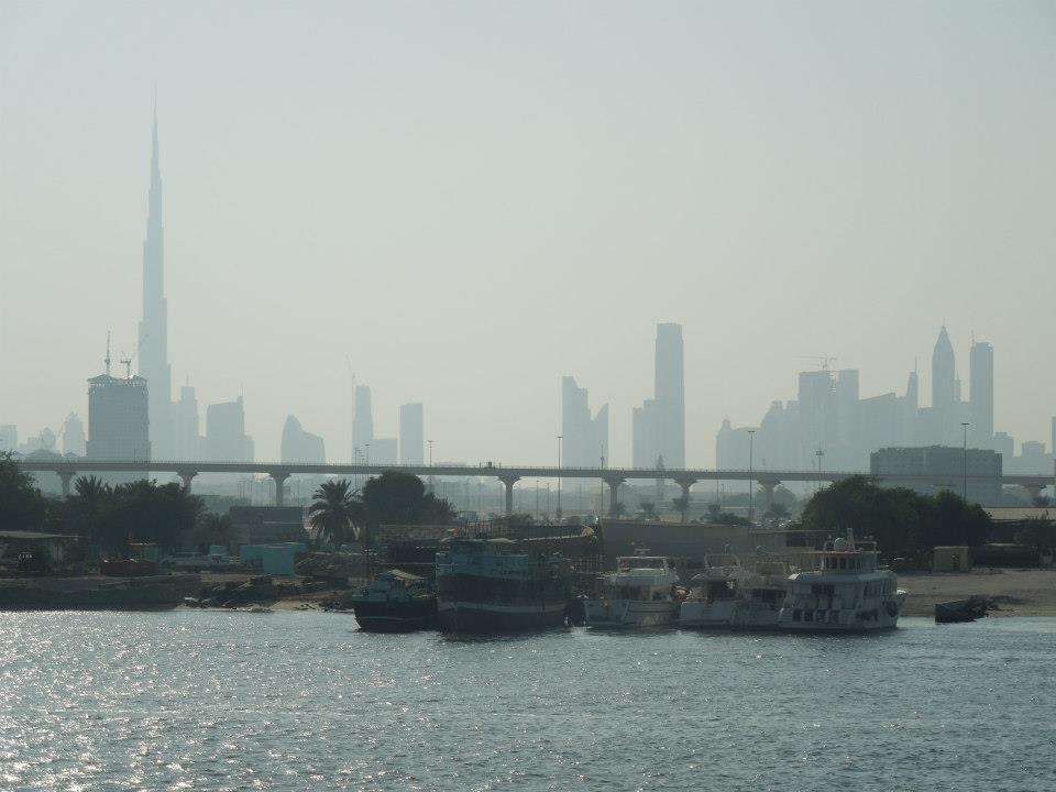 Ausblick von Restaurantterrasse Hotel Crowne Plaza Dubai Festival City