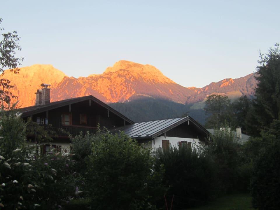 Alpenglühen, vom Balkon aus beobachtet Gästehaus Frauendorf