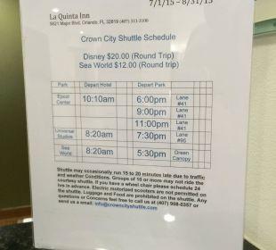 Gratis Shuttlebus Abfahrtzeiten La Quinta Inn Orlando Universal Studios