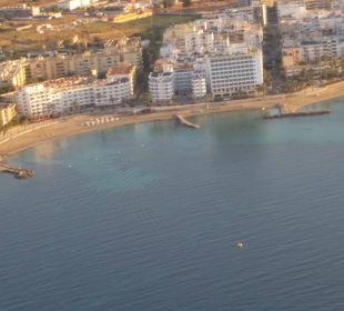Hotel vom Flugzeug aus fotografiert Hotel Ibiza Playa