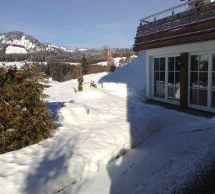 Terrasse vom Himmelbettzimmer 11 Hotel Alpenhof Jäger