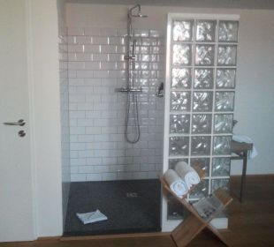 Blick vom Fernsehsessel zur Dusche Hotel Wiesler