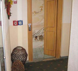 Interessant bemalte Aufzugstür Hotel Idhof