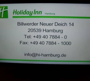 Hotelinfo im Zimmer-TV Hotel Holiday Inn Hamburg