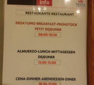 Restaurant Öffnungszeiten Fiesta Hotel Milord