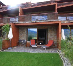 Blick auf Gartensuite Hotel Mohr Life Resort