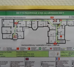 Lageplan 3. Etage Hotel Residenz Berlin