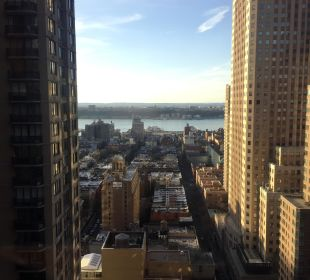 Ausblick Hudson vom Flur Crowne Plaza Hotel Times Square Manhattan