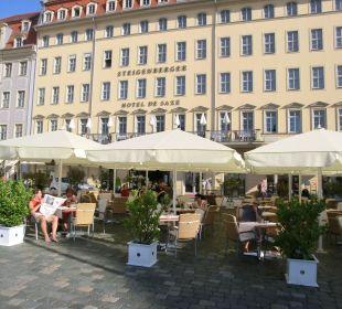 Vor dem Hotel, Gastronomie Steigenberger Hotel de Saxe