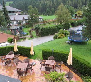 Aussicht von unserem Balkon auf die Terrasse Familienhotel Filzmooserhof