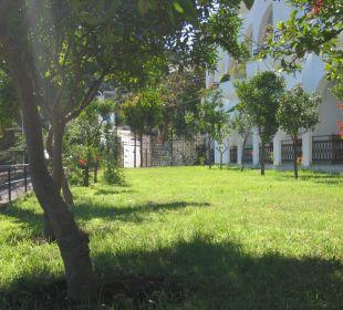 Gebäude und Gargten Hotel Spiros Studios