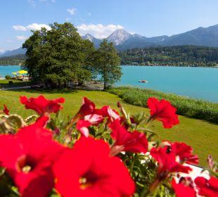 Ausblick von der Terrasse Inselhotel Faakersee