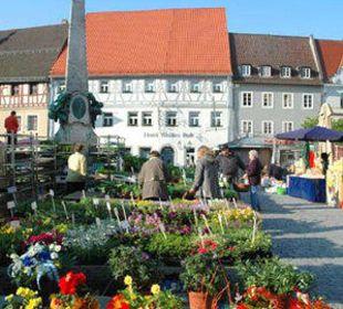 Wochenmarkt vor dem Hotel Hotel Weißes Roß
