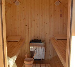 Das Sauna-Fass von innen Gasthaus Alpina