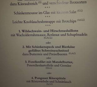 Abendmenü Hotel Alpenschlössl