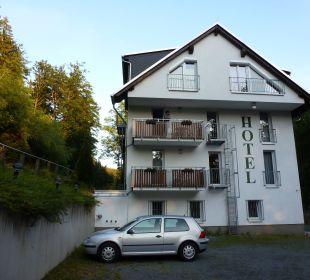 Parkplatzblick Hotel Waldmühle