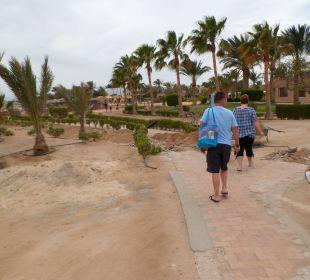 Der Weg vom Strand zum Restaurant, viele Baulöcher