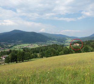 Lage des Berggasthof Weingarten (roter Kreis) Berggasthaus Weingarten