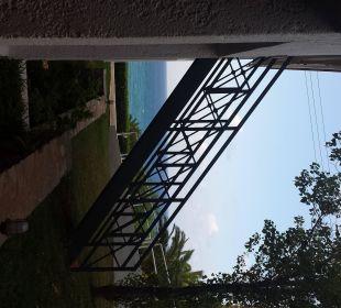 Kellerzimmer 319, Meerblick mit Treppe zum Restaurant Hotel King Minos Palace
