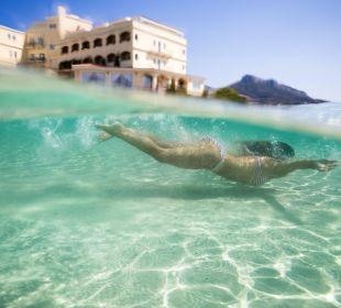 View from the private beach Hotel Gabbiano Azzurro