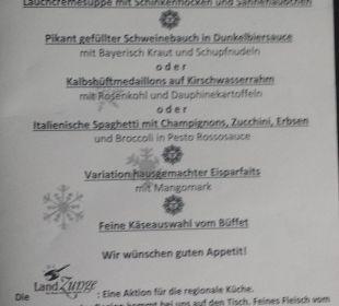 Speisekarte: HP /5 Gänge-Menü /erster Abend Romantik Hotel Sonne