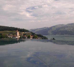 Blick vom Pool zum See mit Schloss Spiez Belvédère Strandhotel
