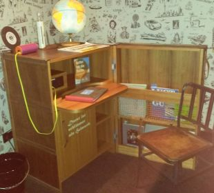 Die Schreibecke  mit Kühlschrank 25hours Hotel HafenCity