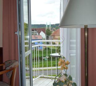 Blick aus dem Zimmer auf die Stadtkirche AltstadtHotel an der Werra