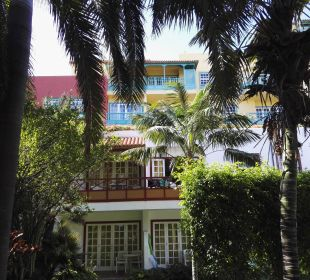 Blick vom Garten auf Zimmer 509 Hotel Hacienda San Jorge