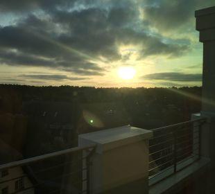 Sonnenaufgang vom Balkon Strandhotel Dünenmeer