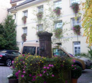 Brunnen im Hof  Hotel Merkur