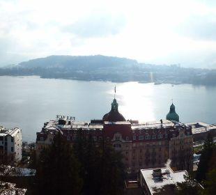 Aussicht vom Zimmerbalkon Art Deco Hotel Montana Luzern