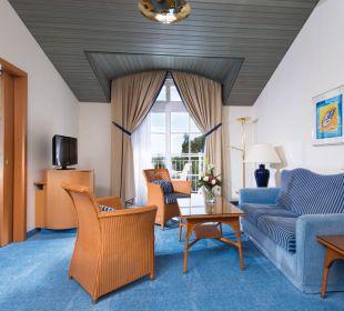 Suite Landseite Wohnraum Hotel Travel Charme Kurhaus Sellin