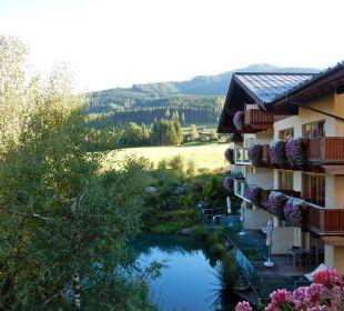 Von unserem Zimmerbalkon auf den Teich Hotel Krallerhof